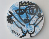 crazy blue queen Original Drawing on round Canvas / art acryl free shiping inch 5,91x5,91x0,79