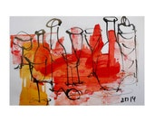 Bottles - Original Drawing with colored Ink and Bambu-Stick - free shiping 11,81 x 8,27 inc red orange yellow