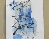 Fishes - Original Drawing - Zodiac Ink and bambustick free shipping