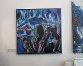 blue dancer Oil / Canvas / xl- Original 39,4x39,4 inch home decor art