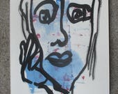 blue girl  - Original Drawing with colored Ink and Bambu-Stick - free shiping blue 8,27 x 5,51i
