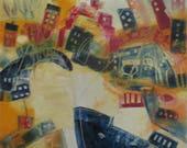 wild harbour city Oil / Canvas / xl- Original 39,4x39,4 inch home decor art