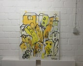italian cityscene red and yellow hollidayfeeling xl painting