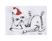 Cat - Christmas Original Drawing with colored Ink and Bambu-Stick - free shiping blue 8,27 x 5,51i
