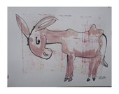 Donkey  - Original Drawing with colored Ink and Bambu-Stick - free shiping rose-pink 11,81 x 8,27 inch