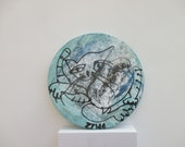 crazy cat Original Drawing on round Canvas / art acryl free shiping inch 5,91x5,91x0,79