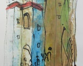 little coffee town - Original Drawing with colored Ink and Bambu-Stick - free shiping 11,81 x 8,27 inc pink gold landscape