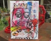 crazy girl with cat expressive portrait Canvas / Drawing 15,7 x 15,74 inch