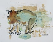 expressive coffee Hippo Original Drawing with colored Ink and Bambu-Stick - free shiping 11,81 x 8,27 inc pink gold landscape