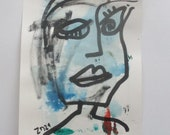 little blue girl, Original Drawing with colored Ink and Bambu-Stick - free shiping 11,81 x 8,27 inc pink gold landscape