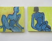 little blue nudes - king of frogs  Original-Drawing on Canvas