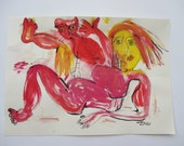 wild red girl with cat expressive girl - Nude Original Drawing with colored Ink and Bambu-Stick 11,81 x 8,27 inch