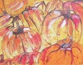Pumpkins Painting, Art, Collage, Red Canvas, Original Drawing by Sonja Zeltner-Müller