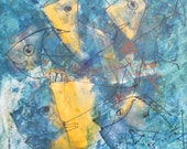 wild crazy fishes  blue and yellow hollidayfeeling xl painting