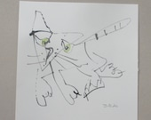 a funny cat - Original Drawing with colored Ink and Bambu-Stick - 7.8 x 7,8 inch