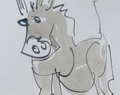 grey donkey - Original Drawing free shiping - ink Gouache animal Aquarell red 8,2x5,5 inch