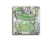 Frog-prince Original Drawing on Collage / Canvas / art acryl free shiping inch 5,91x5,91x0,79