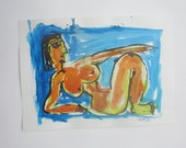 blue Lady - Original Drawing with colored Ink and Bambu-Stick - free shiping yellow purple 8,27 x 5,51i