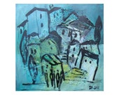 Town landscape Italy   Collage / black Canvas / Drawing 15,74 x 15,74 inch blue turquise