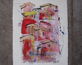 expressive little italian town Original Drawing with colored Ink and Bambu-Stick - free shiping 11,81 x 8,27 inc pink gold landscape