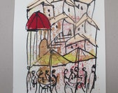 Mediterran  - Original Drawing with colored Ink and Bambu-Stick - free shiping 11,81 x 8,27 inc pink gold landscape