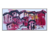 Landscape Original Drawing on Canvas / Acryl  black red pink yellow - free shipping 7,87 x 3,93 inch