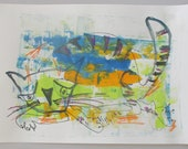 expressive cat  Original Drawing with colored Ink and Bambu-Stick 11,81 x 8,27 inch