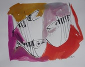 jazzfishes , Jazztheme, expressive coffee Original Drawing Ink and Bambu-Stick - free shiping 11,81 x 8,27 inc pink gold landscape