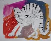 jazzcat, , Jazztheme, expressive coffee Original Drawing Ink and Bambu-Stick - free shiping 11,81 x 8,27 inc pink gold landscape