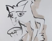 blue cat - Original Drawing free shiping - ink Gouache animal Aquarell red 8,2x5,5 inch