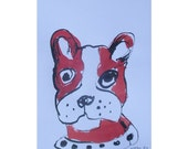 french Bulli - Original Drawing free shiping - ink Gouache animal Aquarell red 8,2x5,5 inch