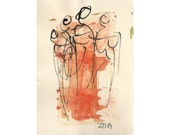 Ladies - people - Original Drawing with colored Ink and Bambu-Stick - free shiping orange 8,27 x 5,51i
