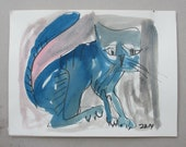 blue cat expressive Original Drawing with colored Ink and Bambu-Stick - free shiping 11,81 x 8,27 inc pink gold landscape