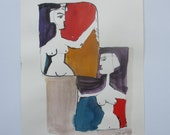 abstract nude scene, expressive coffee Original Drawing Ink and Bambu-Stick - free shiping 11,81 x 8,27 inc pink gold landscape