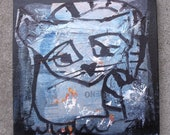 cat / black Original-Drawing on Canvas / Art mixed media collage