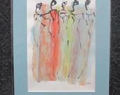 fashion girls - Original Drawing with colored Ink and Bambu-Stick - 8,27 x 5,51i