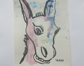 donkey  - Original Drawing with colored Ink and Bambu-Stick - 8,27 x 5,51i