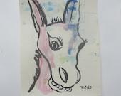 donkey - Original Drawing with colored Ink and Bambu-Stick - 8,27 x 5,51i