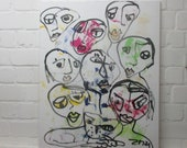 People Original Drawing Oil /  Canvas / art round canvas 35,5 inch