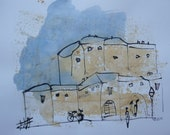 italy, tuscany scene, expressive coffee Original Drawing Ink and Bambu-Stick - free shiping 11,81 x 8,27 inc pink gold landscape