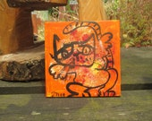 orange crazy cat Original-Drawing on Canvas