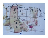 little landscape  - Drawing 11,81 x 8,27 inch minimalism fether-drawing aquarelle free shipping  pink