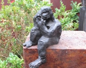 Sculpture Bronze little girl 1from7 Modern Art free shiping - grey green patina