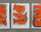 3 expressive red fishes - Original Drawing with colored Ink and Bambu-Stick - free shiping 11,81 x 8,27 inc pink gold landscape