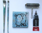little expressive hippo Original-Drawing on Canvas