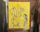 yellow girls, urban streetlife Canvas / Drawing 19,74 x 15,74 inch