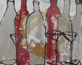 wine bottles party citchenart / black Canvas / Drawing 15,74 x 15,74 inch