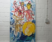 Jazz Muic sax and drums Original, Drawing, Collage, stretched Canvas,  mixed media,  redblack, acrylicpouring,  modern painting,