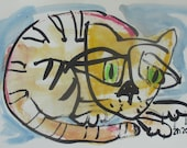 expressive colored cat - Original Drawing with colored Ink and Bambu-Stick - free shiping 11,81 x 8,27 inc pink gold landscape