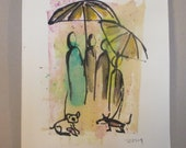 rainy dogwalk - Original Drawing with colored Ink and Bambu-Stick - free shiping 11,81 x 8,27 inc pink gold landscape